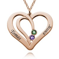 Personalized Two  Heart Necklace With Birthstone For Moms in Rose Gold Plated