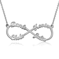 Sterling Silver Infinity Necklace With 4 Names