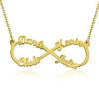 Personalized  Infinity Necklace With 4 Names in Gold Plated