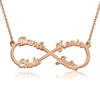 Customized Infinity 4 Names Necklace In Rose Gold Plated