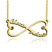 Personalized Infinity Heart Necklace With Two Birthstones in Gold Plated