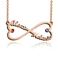 Personalized Infinity Heart Necklace With Two Birthstones in Rose old Plated