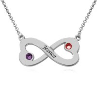 Customized Engraved Infinity Heart Necklace With Two Birthstones in Sterling Silver