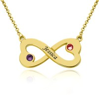 Customized Engraved Infinity Heart Necklace With Birthstones in Gold Plated