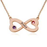 Customized Engraved Infinity Heart Necklace With Birthstones in Rose Gold Plated