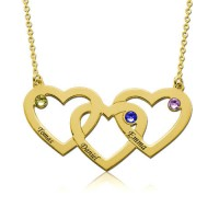 Personalized Intertwined  Heart Engraved Necklace With Birthstone in Gold Plated