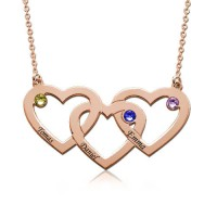 Personalized Heart  In Heart  Engraved Necklace With Birthstone in Rose Gold Plated