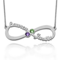 Customized Infinity Necklace With Two Birthstones in Sterling Silver