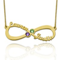 Customized Infinity Necklace With Two Birthstones in Gold Plated