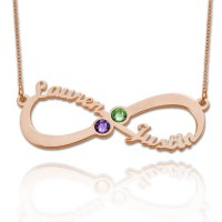 Personalized Infinity Necklace With Two Birthstones in Rose Gold Plated