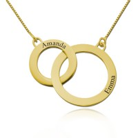 Gold Plated Engraved Circles Necklace