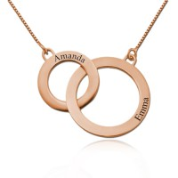 Rose Gold Plated Engraved Circles Necklace