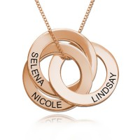 Russian Ring Necklace with 3 discs in Rose Gold Plated