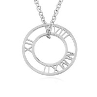 Sterling Silver Circle Roman Numeral Necklace