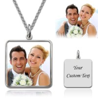 Square Color Engraved Photo Necklace in Sterling Silver