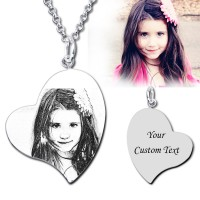 Heart Engraved Photo Necklace In Sterling Silver for couples