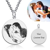 Circle Engraved Photo Necklace In Sterling Silver