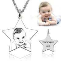 Personalized Pentagram Engraved Photo Necklace in Sterling Silver