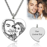 Heart Engraved Photo Necklace In Sterling Silver for Mother