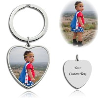 Heart Engraved Photo Keychain In Sterling Silver