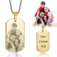 Gold Titanium Steel  Engraved Photo Dog Tag Necklace