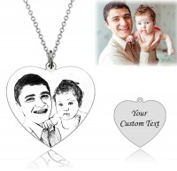 Sterling Silver Heart Engraved Photo Necklace
