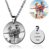 Titanium Steel Circle Engraved Photo Necklace