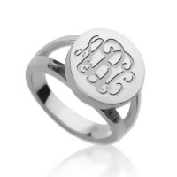 Sterling Silver Ring Engraved Monogram