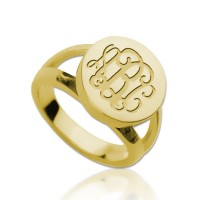 Gold Plated Ring Engraved Monogram