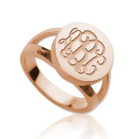 Rose Gold Plated Ring Engraved Monogram