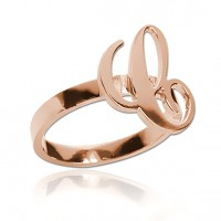 Customized  Letter Ring in Rose Gold Plated