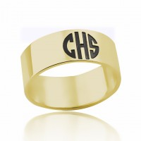 Personalized 3 Initials Monogram Ring in Gold Plated