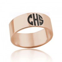 Rose Gold Plated Monogram Ring with 3 Initials