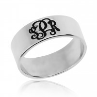3 Initials Monogram Ring In Sterling Silver