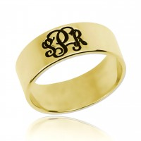 Gold Plated Customized Initials Monogram Ring
