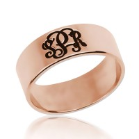 Rose Gold Plated Customized Initials Monogram Ring