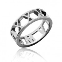 Sterling Silver Roman Numeral Date Ring