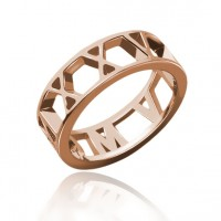 Rose Gold Roman Numeral Date Ring