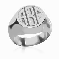 Sterling Silver Engraved Monogram Ring