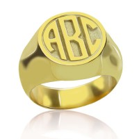Personalized Gold Plated Engraved Monogram Ring