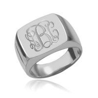 Sterling Silver Square  Engraved Monogram Ring
