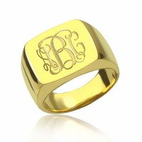 Personalized Gold Plated Square Engraved Monogram Ring