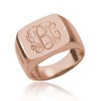 Customized  Square Engraved Monogram Ring  in Rose Gold Plated