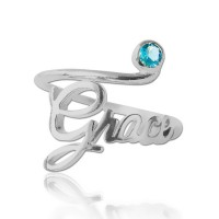Sterling Silver Birthstone Name Ring
