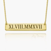 Gold Plated Roman Numeral Bar Necklace