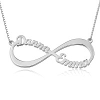 Sterling Silver Infinity Necklace With Two Names