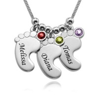 Baby Feet Necklace with Birthstones in Sterling Silver for Mother's Gifts