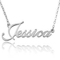 Sterling Silver Personalized Script Name Necklace