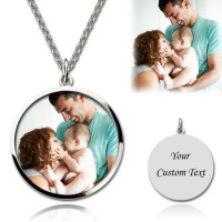 Circle Color Photo Engraved Necklace In Sterling Silver
